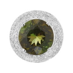 6.90 Carat Tourmaline Diamond Halo Platinum Cocktail Ring