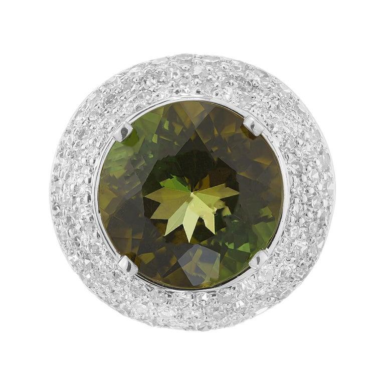 6.90 Carat Tourmaline Diamond Halo Platinum Cocktail Ring For Sale