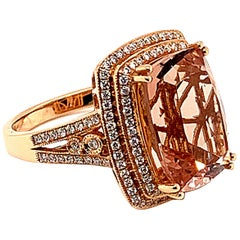 6.91 Carat Cushion Shaped Morganite Ring in 18 Karat Rose Gold with Diamonds
