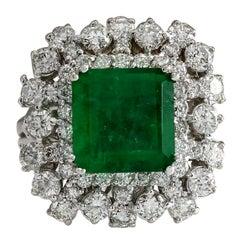 6.91 Carat Emerald 18 Karat White Gold Diamond Ring