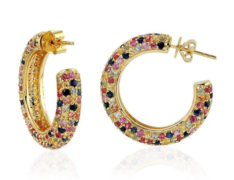 Artisan 6.91 Carat Multi Sapphire Diamond Hoop Earrings For Sale