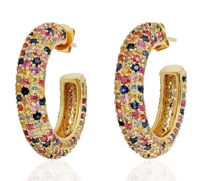 6.91 Carat Multi Sapphire Diamond Hoop Earrings In New Condition For Sale In Hoffman Estate, IL
