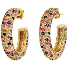 6.91 Carat Multi Sapphire 18 Karat Gold Hoop Earrings