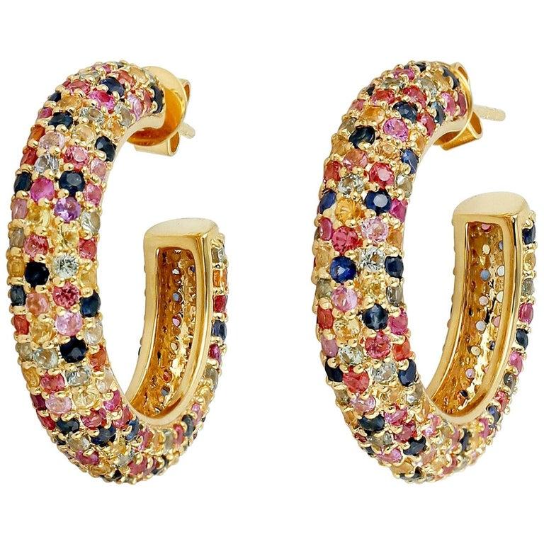 6.91 Carat Multi Sapphire Diamond Hoop Earrings For Sale