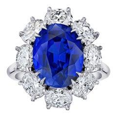 6.90 Carat Oval Blue Sapphire and Diamond Ring