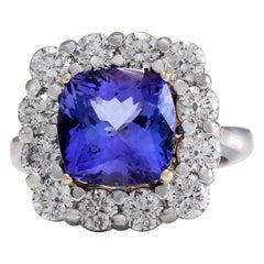 6.91 Carat Tanzanite 18 Karat White Gold Diamond Ring