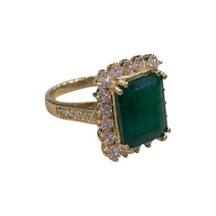 6.91 Ctw Emerald 18k Yellow Gold Diamond Ring