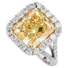 6.92 Carat Fancy Yellow Radiant Diamond Engagement Platinum Ring