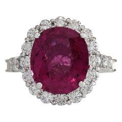 6.92 Carat Natural Rubelite 18 Karat White Gold Diamond Ring