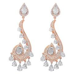 6.92 Carat Round Brilliant and Rose Cut Diamond Drop Earring, 18 Karat Rose Gold