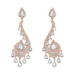 6.92 Carat Round Brilliant and Rose Cut Diamond Drop Fancy 18K Gold Earrings