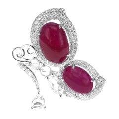 6.92 Carat Vivid Red Ruby 1.30 Carat Diamond 'Mariposa' Inspired Cocktail Ring