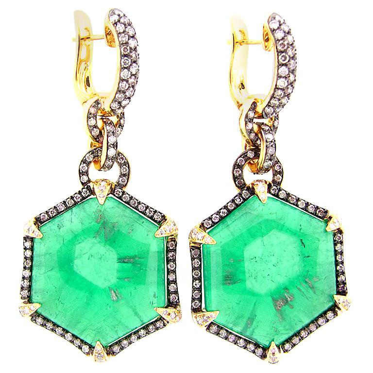 ba792aaf80157 69.29 Carat Colombian Trapiche Emerald and Diamond Earrings