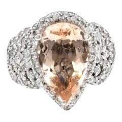 6.93 Carat Exquisite Natural Morganite and Diamond 14K Solid White Gold Ring
