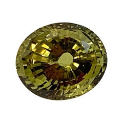 6.93 Carat Faceted Loose Chrysoberyl Oval, Unset Dome Ring, Pendant Gemstone