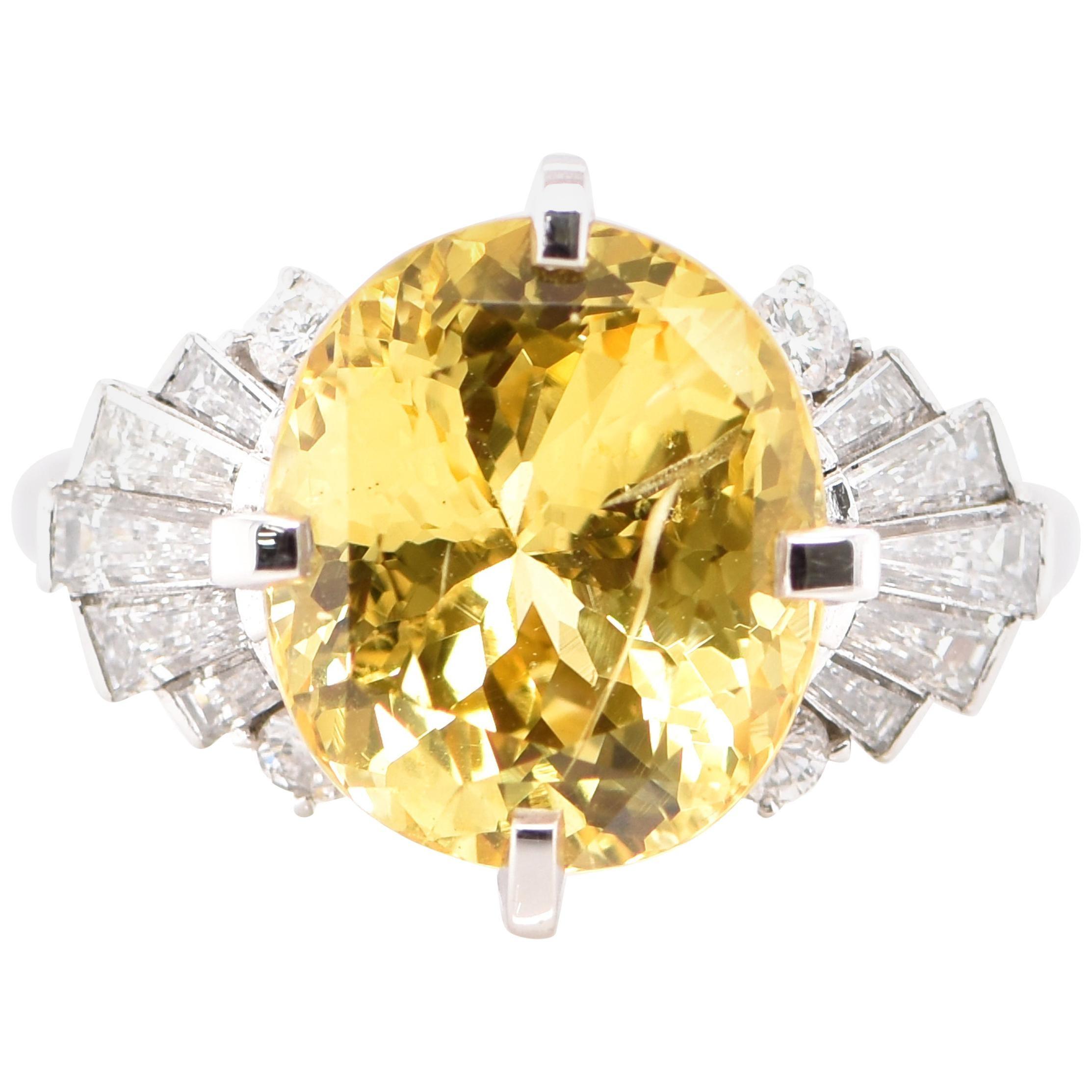 6.93 Carat Untreated Yellow Sapphire and Diamond Ring Set in Platinum