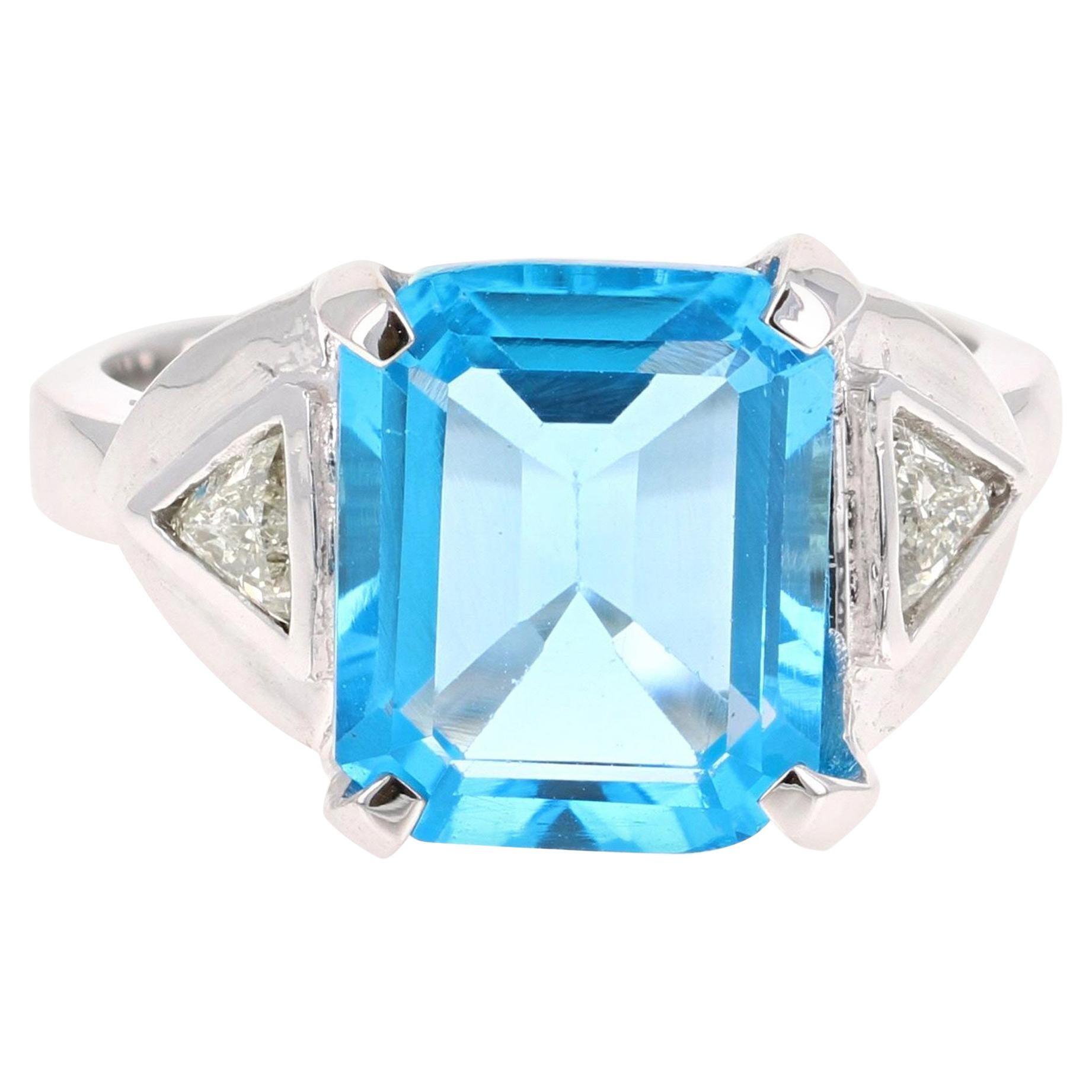 6.94 Carat Blue Topaz Diamond 14 Karat White Gold Ring