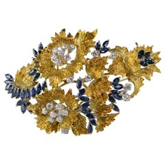 6.94 Carat Marquise Sapphire Diamond Floral Gold Pin/Brooch