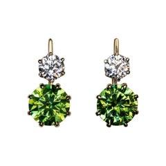 6.94 Carat Russian Demantoid and Diamond Earrings
