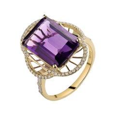 6.95 Carat Amethyst Diamond Ring 14 Karat Yellow Gold