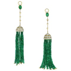 69.56 Carat Emerald Beads Diamond 18 Karat Yellow Gold Chandelier Earrings