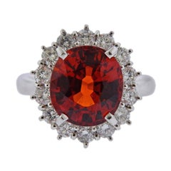 6.95 Carat Spessartite Garnet Diamond Platinum Cocktail Ring