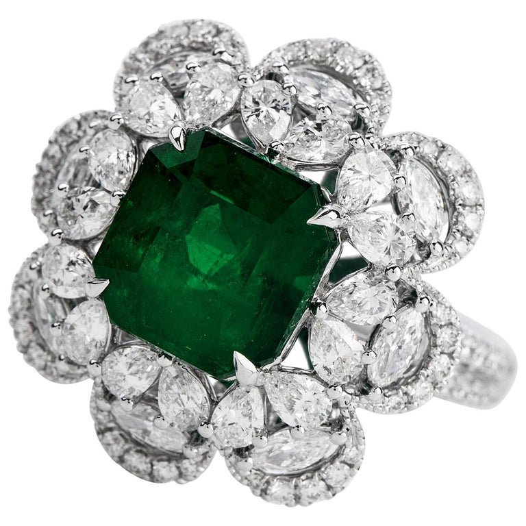 6.96 Carat Colombian Emerald Diamond 18 Karat Gold Large Cocktail Ring For Sale
