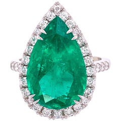 6.96 Carat Emerald and Diamond Gold Cocktail Ring Fine Estate Jewelry