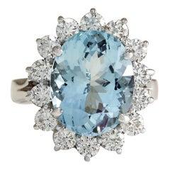 6.96 Carat Natural Aquamarine 18 Karat White Gold Diamond Ring
