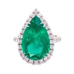 6.96 Carat Pear Shaped Emerald and Diamond Ring Estate Fine Jewelry