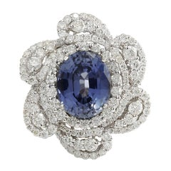 6.96 Carat Sapphire 18 Karat White Gold Diamond Ring