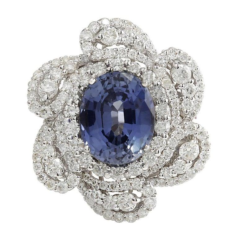 6.96 Carat Sapphire 18 Karat White Gold Diamond Ring For Sale