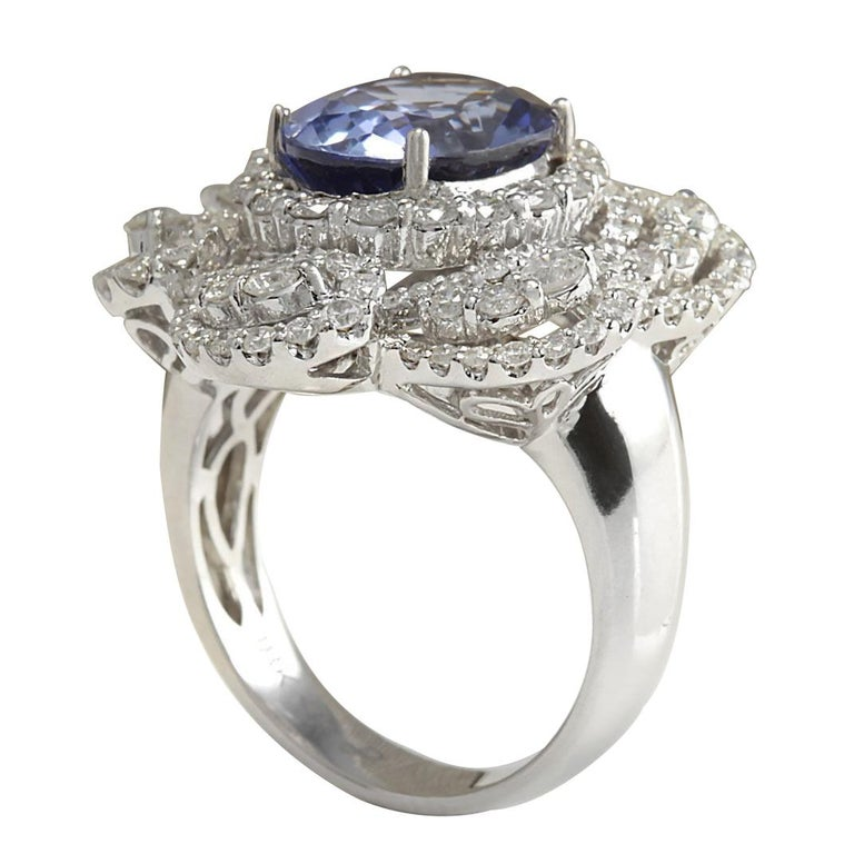 6.96 Carat Sapphire 18 Karat White Gold Diamond Ring In New Condition For Sale In Los Angeles, CA