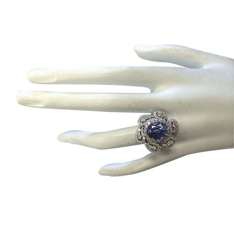 Women's 6.96 Carat Sapphire 18 Karat White Gold Diamond Ring For Sale