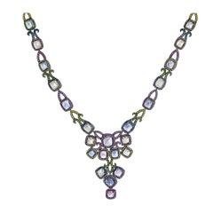 69.69 Carat Burmese Sugarloaf Sapphire Necklace Set in 18 Karat White Gold