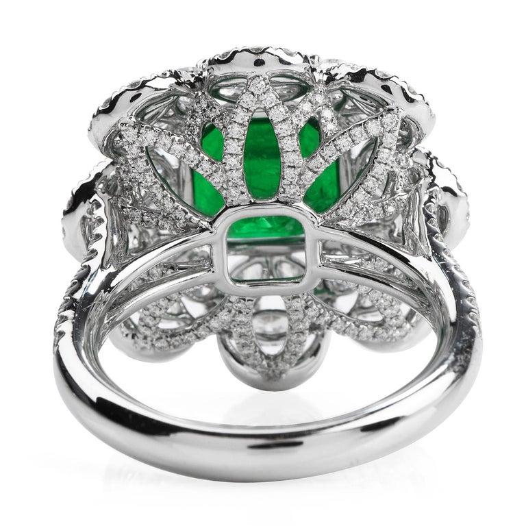Emerald Cut 6.96 Carat Colombian Emerald Diamond 18 Karat Gold Large Cocktail Ring For Sale