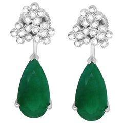6.97 Carat Pear Emerald and Round Diamond Drop Earrings 14K White Gold
