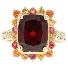 6.97 Carat Garnet Sapphire Diamond 14 Karat Yellow Gold Ring