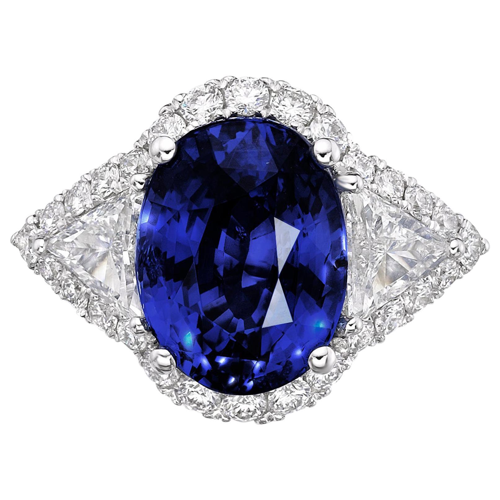 6.97 Carat Royal Blue Sapphire GRS Certified Unheated Diamond Ceylon Ring Oval