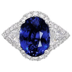6.97 Carat GRS Certified 18K Gold Non Heated Sapphire and Natural Diamond Ring