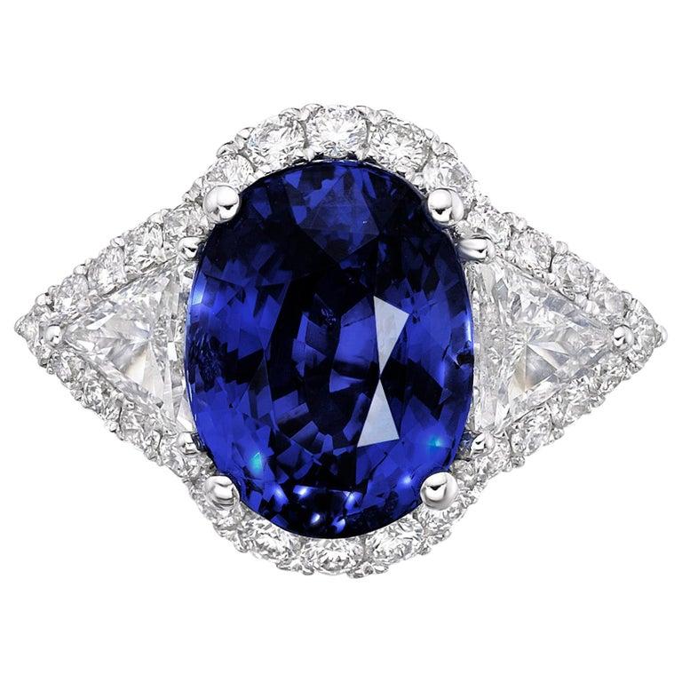 6.97 Carat Royal Blue Sapphire GRS Certified Unheated Diamond Ceylon Ring Oval  For Sale