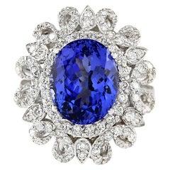 6.97 Carat Tanzanite 18 Karat White Gold Diamond Ring