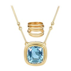 6.97 Carat Cushion Cut Aquamarine Necklace, 5 Band Gold Ring Suite