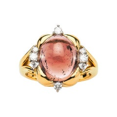 6.98 Carat Brown Tourmaline Cabochon Diamond Cocktail Ring Natalie Barney