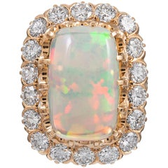 6.98 Carat Opal and Diamond Cluster Ring