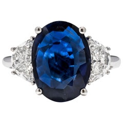 6.99 Carat GRS Certified 18K Non Heated Sapphire and Natural Diamond Ring