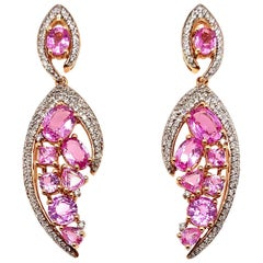 6.99 Carat Pink Sapphire Earring in 18 Karat Rose Gold with Diamonds