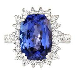 6.99 Carat Tanzanite 18 Karat White Gold Diamond Ring