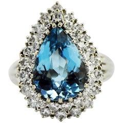 6 Carat Blue Pear Cut Topaz and 41-1.25 Carat Diamonds 14K Gold Cocktail Ring