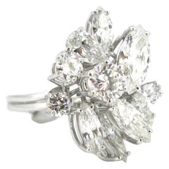 6 Carat Cocktail Marquise and Pear Shape Diamonds White Gold Ring